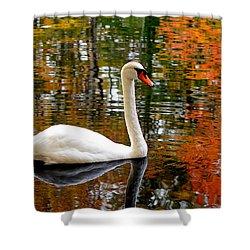 Autumn Swan Shower Curtain by Lourry Legarde