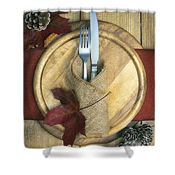 Autumn Table Setting Shower Curtain by Amanda Elwell