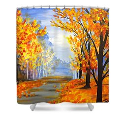 Shower Curtain featuring the painting Autumn Trail by Darren Robinson