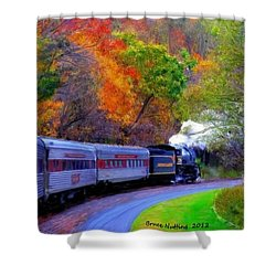 Shower Curtain featuring the painting Autumn Train by Bruce Nutting
