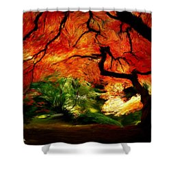 Shower Curtain featuring the painting Autumn Tree by Bruce Nutting