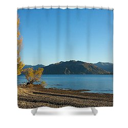Shower Curtain featuring the photograph Autumn Trees At Lake Wanaka by Stuart Litoff