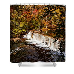 Autumn Trees On Duck River Shower Curtain by Jerry Cowart