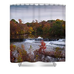 Shower Curtain featuring the photograph Refreshing Waterfalls Autumn Trees On The Stones River Tennessee by Jerry Cowart