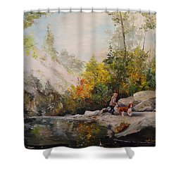 Shower Curtain featuring the painting Autumn Walk by Alan Lakin