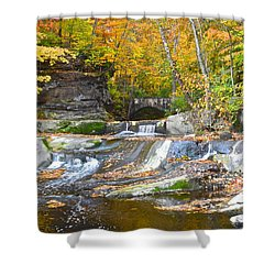Autumn Waterfall Shower Curtain by Frozen in Time Fine Art Photography