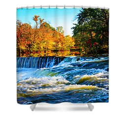 Amazing Autumn Flowing Waterfalls On The River  Shower Curtain by Jerry Cowart