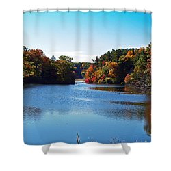 Autumn Waterway Shower Curtain by Aimee L Maher Photography and Art Visit ALMGallerydotcom