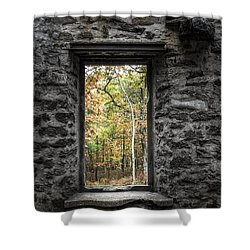 Autumn Within Cunningham Tower - Historical Ruins Shower Curtain by Gary Heller