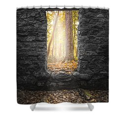 Shower Curtain featuring the photograph Autumn Within Long Pond Ironworks - Historical Ruins by Gary Heller