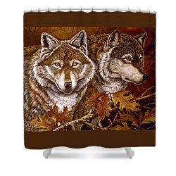 Autumn Wolves Shower Curtain by Sandy Williams