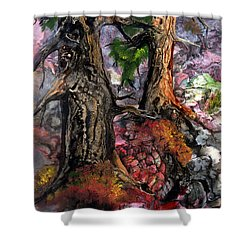Shower Curtain featuring the painting Autumn Woods by Sherry Shipley