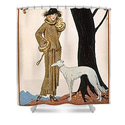 Autumnal Symphony Afternoon Coat And Dress By Worth Shower Curtain by Georges Barbier