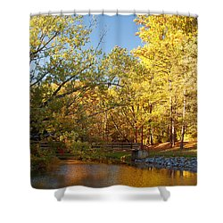 Autumn's Golden Pond Shower Curtain by Kim Hojnacki