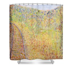 Autumns Maple Leaves And Train Tracks Shower Curtain