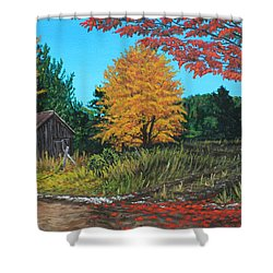 Autumns Rustic Path Shower Curtain by Wendy Shoults
