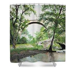 Shower Curtain featuring the painting Aux Pieds Des Ponts De Pierre - Perthuis by Marc Philippe Joly