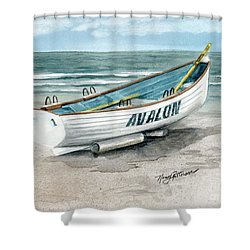 Avalon Lifeguard Boat  Shower Curtain