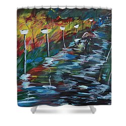 Avenue Of Shadows Shower Curtain by Donna Blackhall