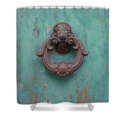 Avignon Door Knocker On Green Shower Curtain by Ramona Johnston