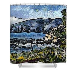 Avila Bay California Abstract Seascape Shower Curtain by Barbara Snyder