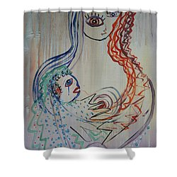 Shower Curtain featuring the painting Avi's Madonna by Avonelle Kelsey