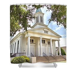 Shower Curtain featuring the photograph Awaiting The Congregation by Gordon Elwell