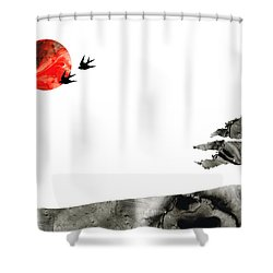 Awakening - Zen Landscape Art Shower Curtain by Sharon Cummings