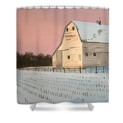 Shower Curtain featuring the painting Award-winning Original Acrylic Painting - Nebraska Barn by Norm Starks