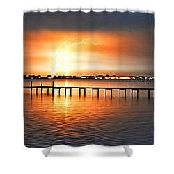 Shower Curtain featuring the photograph Awesome Lightning Electrical Storm On Sound by Jeff at JSJ Photography