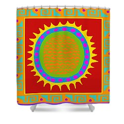 Aztec Del Sol Shower Curtain by Vagabond Folk Art - Virginia Vivier