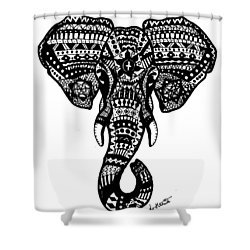 Aztec Elephant Head Shower Curtain by Loren Hill