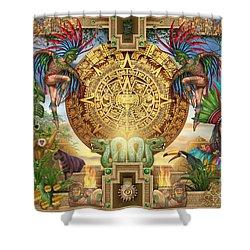 Aztec Mayhem Montage Shower Curtain by Ciro Marchetti