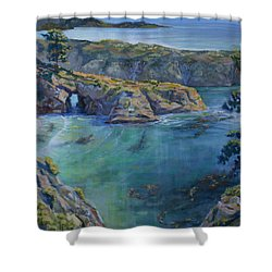 Azure Cove Shower Curtain by Heather Coen