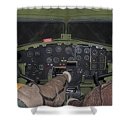 B-17 Bomber Cockpit Shower Curtain by John Black