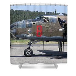 B-25 Bomber Pre-flight Check Shower Curtain by Daniel Hagerman