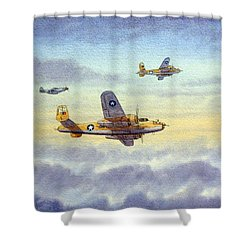 Shower Curtain featuring the painting B-25 Mitchell by Bill Holkham