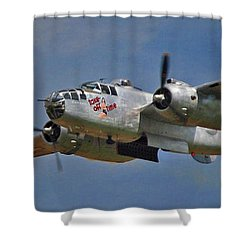 B-25 Take-off Time 3748 Shower Curtain by Guy Whiteley