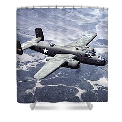 B-25 World War II Era Bomber - 1942 Shower Curtain by Daniel Hagerman