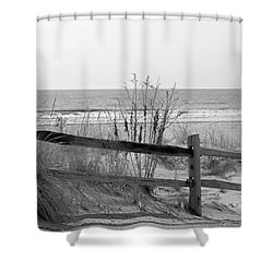 B And W Beach Shower Curtain