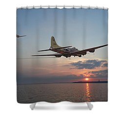 B17  Westward Ho Shower Curtain by Pat Speirs