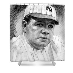 Shower Curtain featuring the drawing Babe Ruth by Viola El