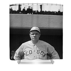 Babe Ruth In Red Sox Uniform Shower Curtain by Underwood Archives