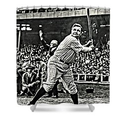 Babe Ruth Painting Shower Curtain by Florian Rodarte