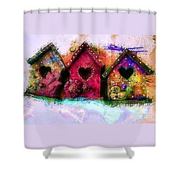 Baby Birdhouses Shower Curtain