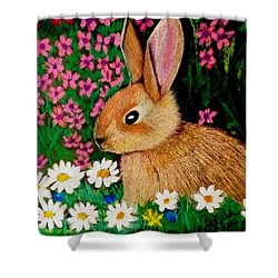 Baby Bunny In The Garden At Night Shower Curtain