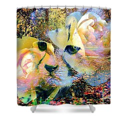 Baby Cheetah And Roses In Wilderness Shower Curtain
