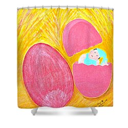 Shower Curtain featuring the painting Baby Egg by Lorna Maza