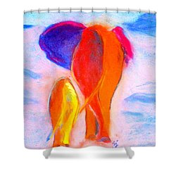 Baby Elephant And Mom Shower Curtain