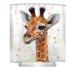 Baby Giraffe Watercolor  Shower Curtain by Olga Shvartsur